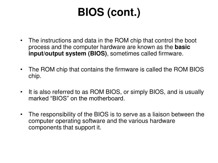 BIOS (cont.)