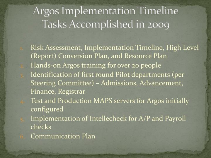 Argos Implementation Timeline