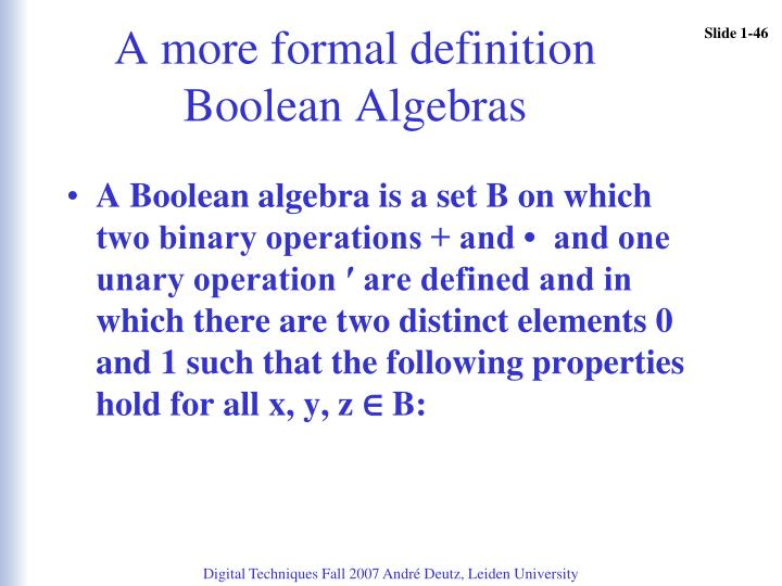 A more formal definition Boolean Algebras