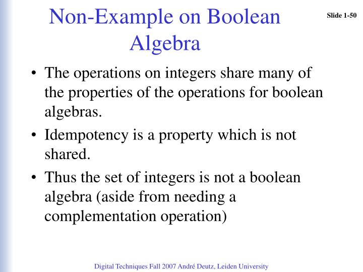 Non-Example on Boolean Algebra