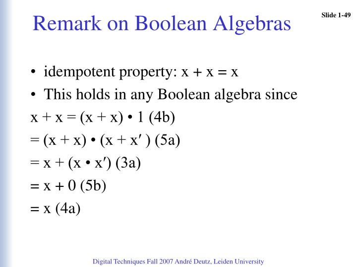 Remark on Boolean Algebras