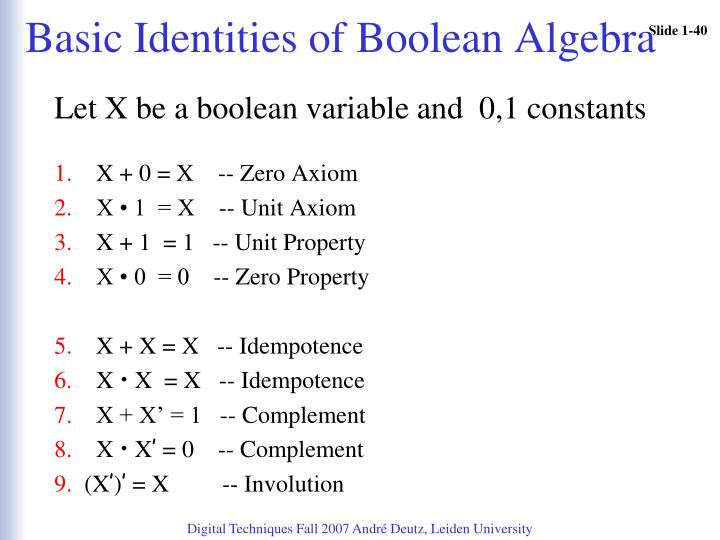 Basic Identities of Boolean Algebra