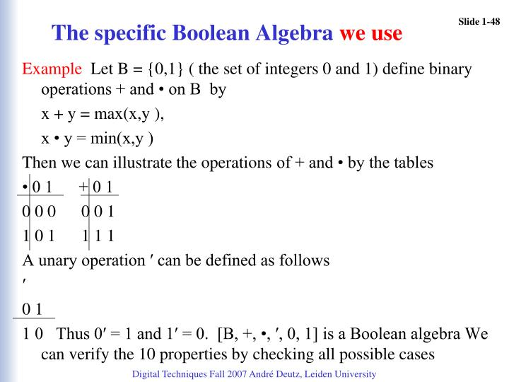 The specific Boolean Algebra