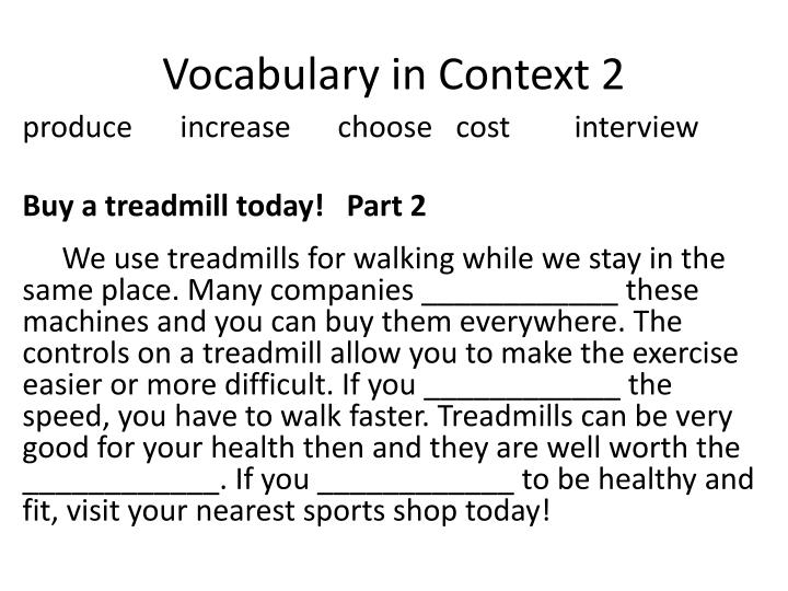 Vocabulary in Context 2