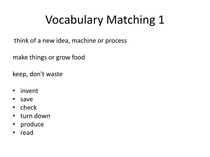 Vocabulary Matching 1