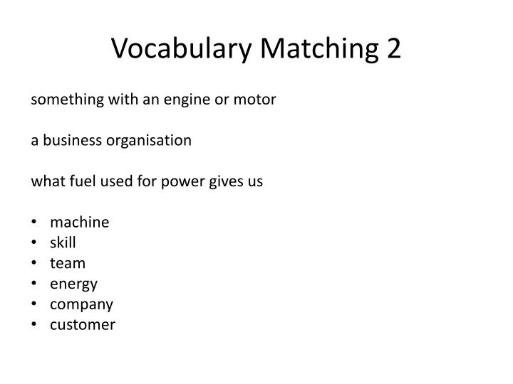 Vocabulary Matching 2