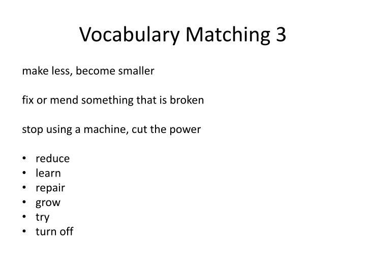 Vocabulary Matching 3