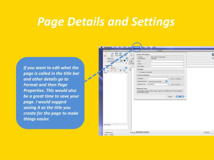 Page Details and Settings