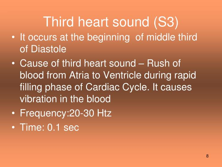 Third heart sound (S3)