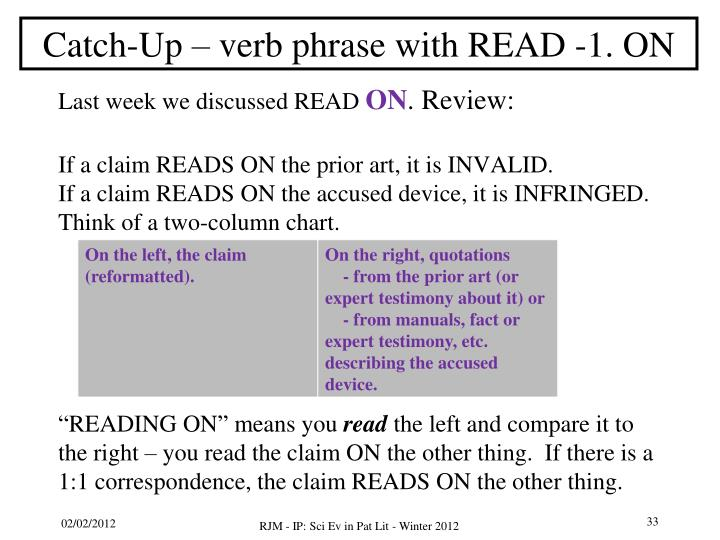 Catch-Up – verb phrase with READ -1. ON