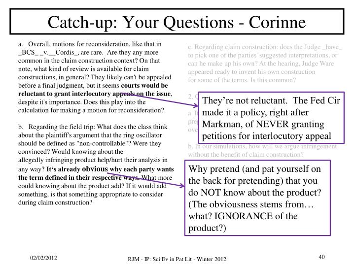 Catch-up: Your Questions - Corinne