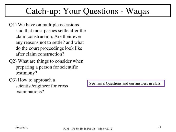 Catch-up: Your Questions -