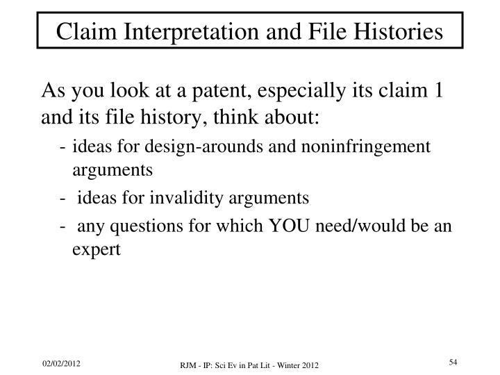 Claim Interpretation and File Histories