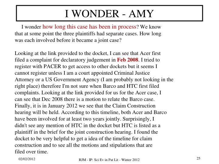 I WONDER - AMY