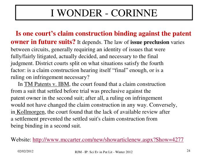 I WONDER - CORINNE