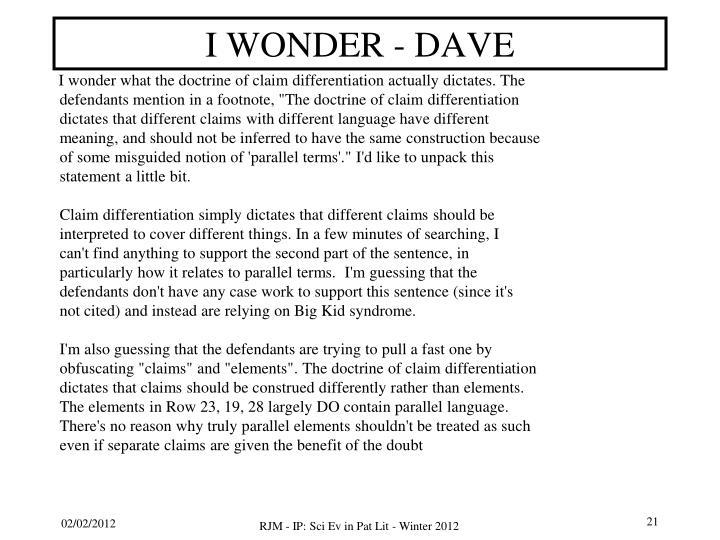 I WONDER - DAVE