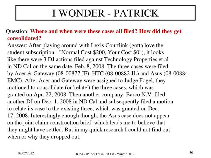 I WONDER - PATRICK