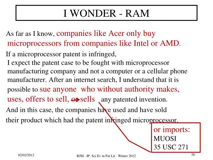 I WONDER - RAM