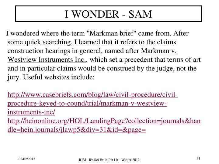 I WONDER - SAM