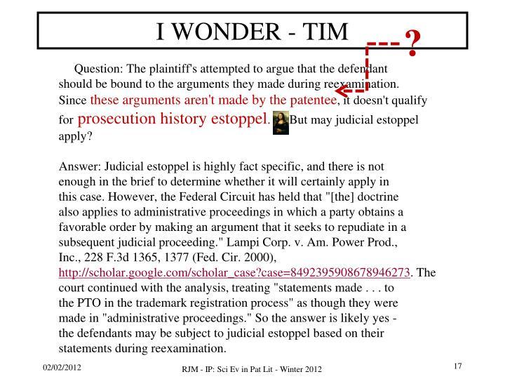 I WONDER - TIM