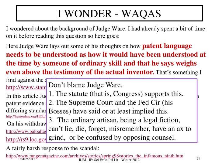 I WONDER - WAQAS