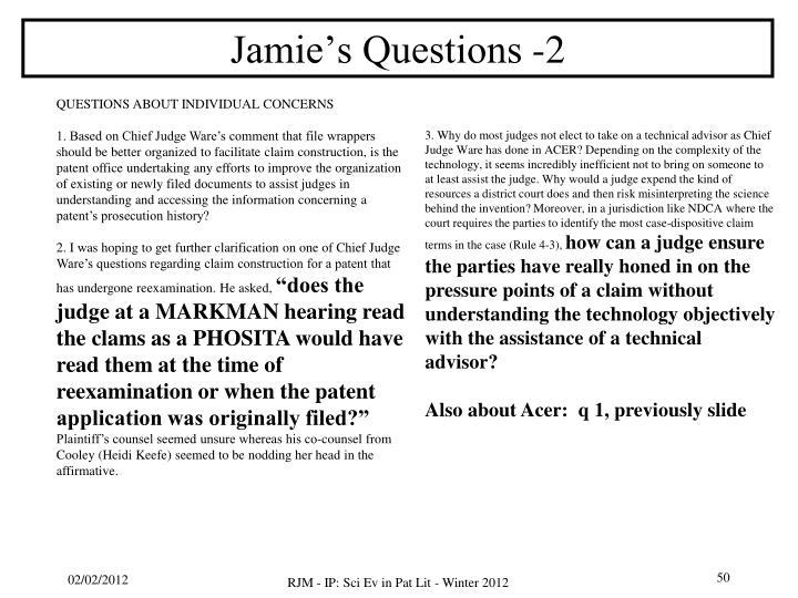 Jamie's Questions -2
