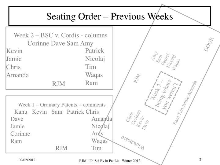 Seating Order – Previous Weeks