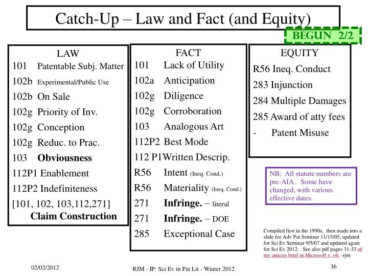Catch-Up – Law and Fact (and