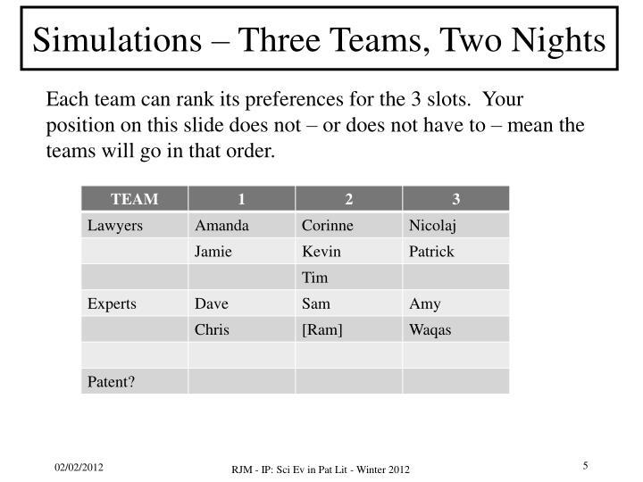 Simulations – Three Teams, Two Nights
