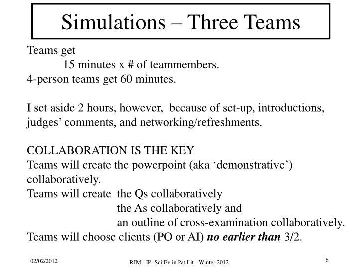 Simulations – Three Teams