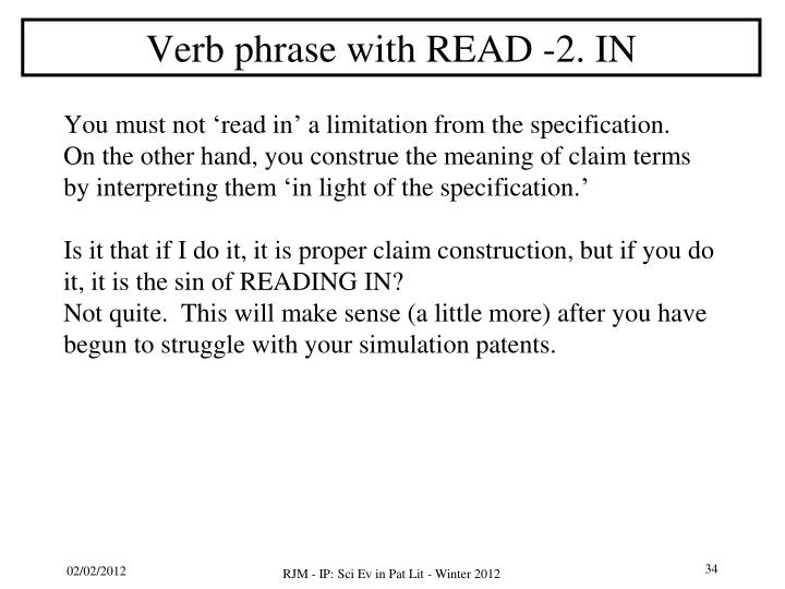 Verb phrase with READ -2. IN