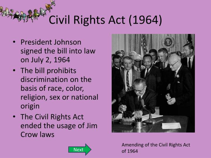 Civil rights act of 1964 sex