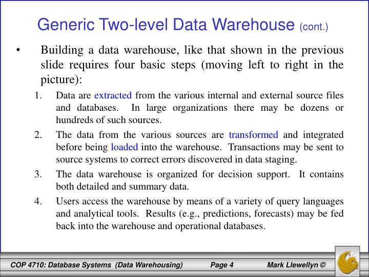 Building a data warehouse, like that shown in the previous slide requires four basic steps (moving left to right in the picture):