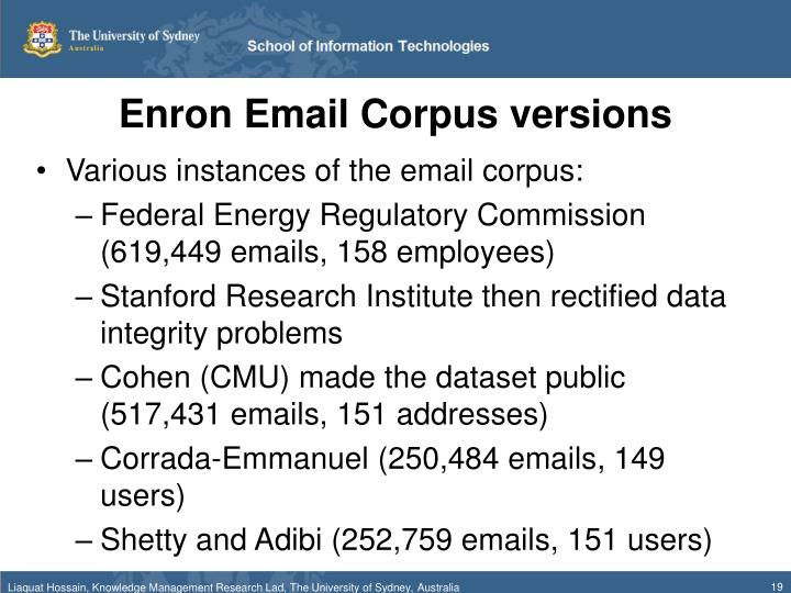 Enron Email Corpus versions
