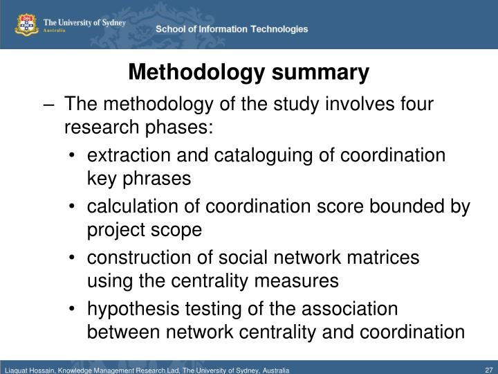Methodology summary