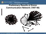 preliminary results of enron communication network 1997 98