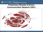 preliminary results of enron communication network 2001