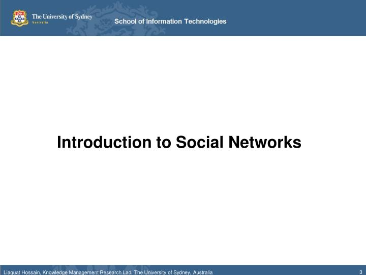 Introduction to Social Networks