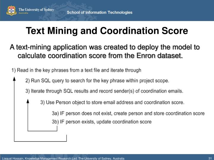 Text Mining and Coordination Score