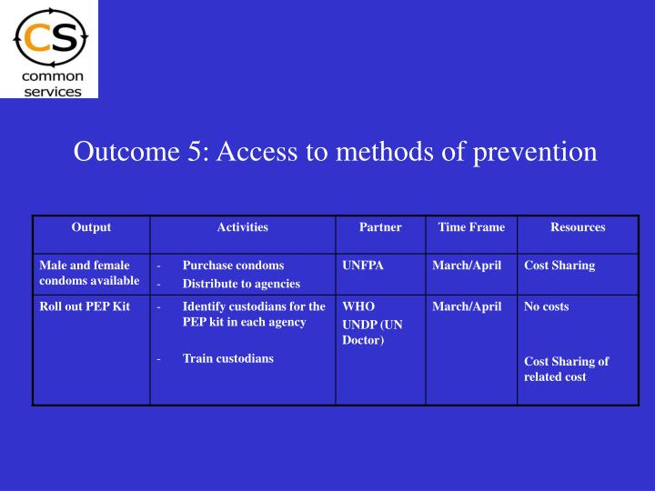 Outcome 5: Access to methods of prevention