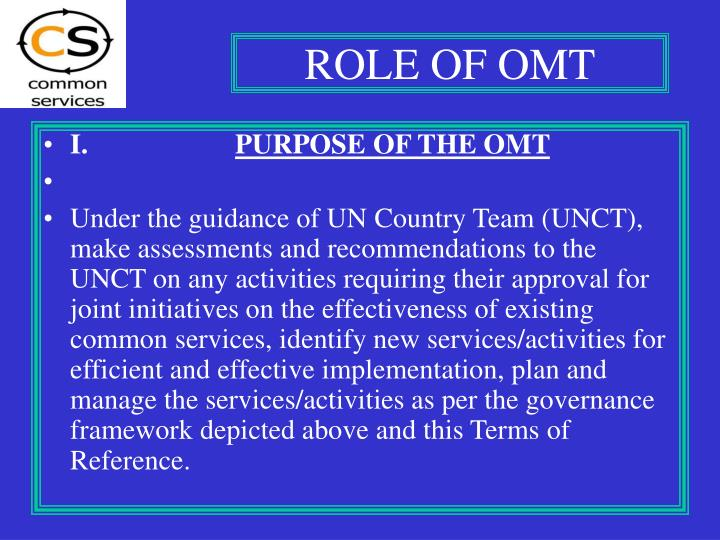 ROLE OF OMT
