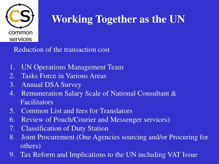 Working Together as the UN