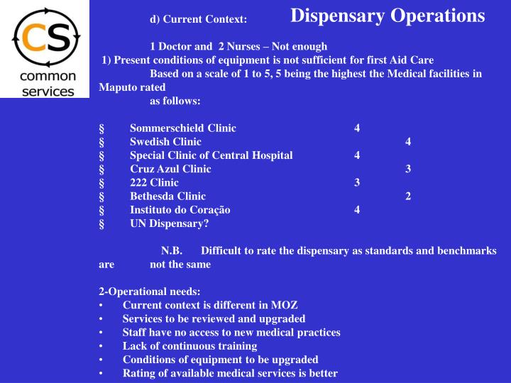Dispensary Operations