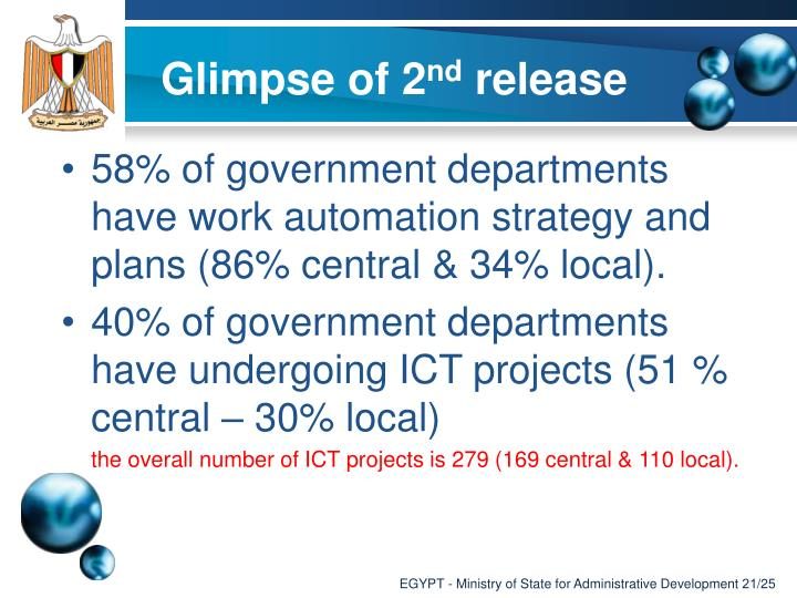 58% of government departments have work automation strategy and plans (86% central & 34% local).
