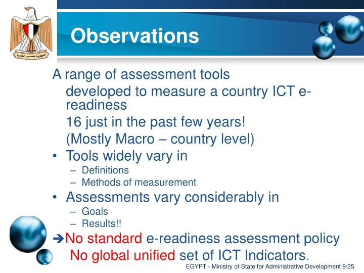 A range of assessment tools