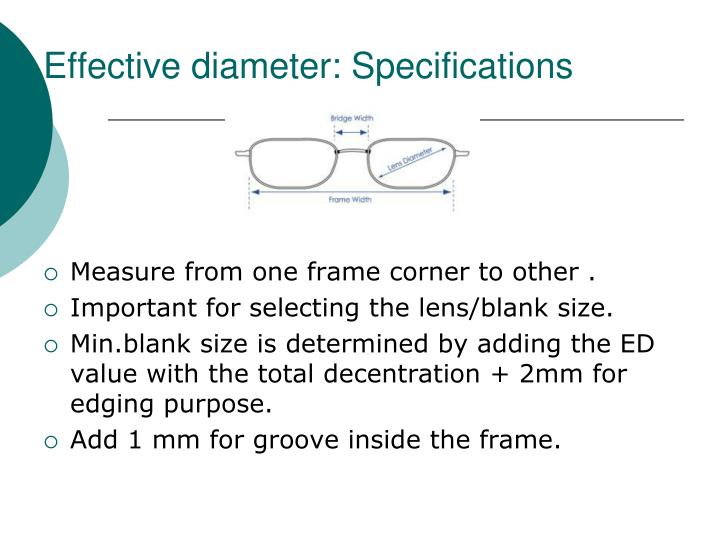 Effective diameter: Specifications
