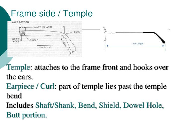 Frame side / Temple