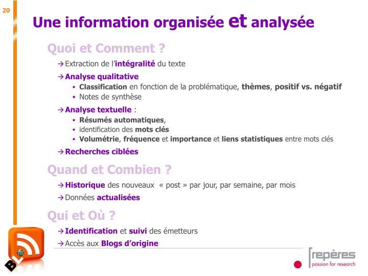 Une information organisée