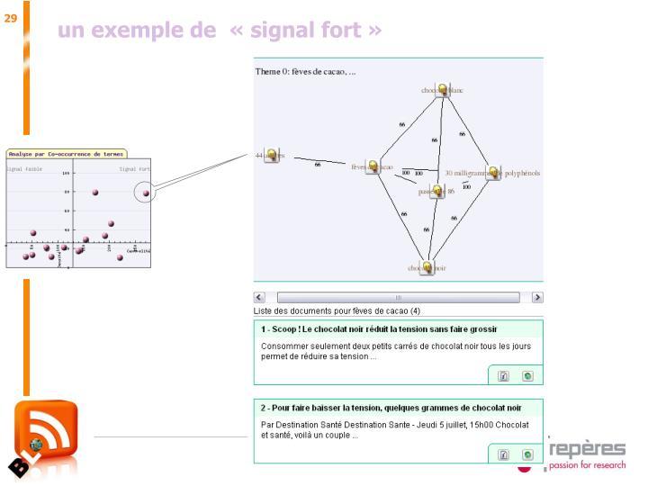 un exemple de  «signal fort»