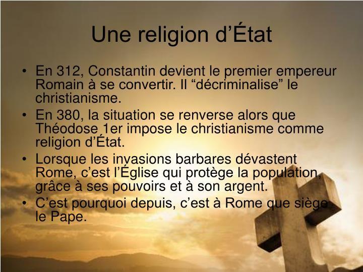 Une religion d'État